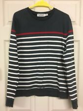 Topman Topshop Mens Striped Jumper Top Navy Blue White Red Medium 100% Cotton
