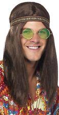 uomo anni 70 ANNI '60 Hippy FASCIA OCCHIALI COLLANA parrucca costume vestito KIT