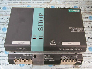 Siemens 6EP1336-3BA00 SITOP MODULAR POWER SUPPLY 120/230V 20A *Tested & Working*