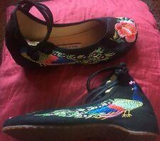 Impresión De Pavo Real Pájaro Bordado Oriental Chino Floral Rosa Zapatos Planos Zapatillas