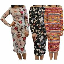 New Ladies Long Sleeve Off Shoulder Printed Bodycon Midi Dress 8-22