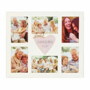 Collage Photo Frame Holds Six 6 Photos Grandchildren Cream Wood MDF Heart