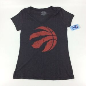 Toronto Raptors Majestic Threads Womens T-Shirt Gray Heathered V Neck Tee XL