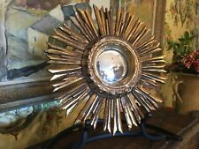 Vintage Original French Small Starburst Mirror Gilded Wood South of France
