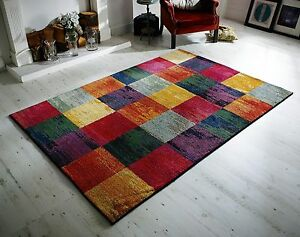 Kaleidoscope Rug Abstract Modern Colourful Design Checked Multi Colour 2 SIZES