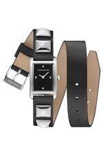 REBECCA MINKOFF SILVER TONE,STUDDED WRAP AROUND BLACK LEATHER BAND WATCH 2200075