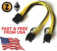 PCI-E 8p Female to 2 Port Dual 8pin 6+2p Male GPU Graphics Power Cable 20 cm