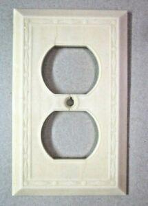 Leviton Dots Diamonds Lines Beige Deco Bakelite Outlet Plate Wall Cover Antique
