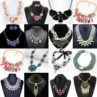 Fashion Crystal Rhinestone Pendant Bib Choker Chain Statement Necklace Jewelry