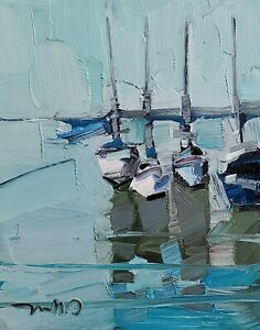 JOSE TRUJILLO Oil Painting IMPRESSIONISM CONTEMPORARY Seascape Boats NR