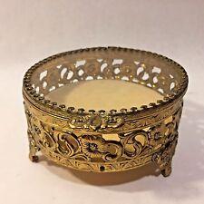 Vtg ROUND Hollywood Regency Style Glass & Filligree Brass Jewelry Trinket Box