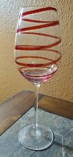 Goblet Glass Red Spiral Swirl 10""