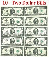 10 Consecutive Serial # Uncirculated $2 Bills Two Dollar Bills