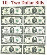 10 Consecutive Serial numbers - Uncirculated $2 Bills Two Dollar Bills