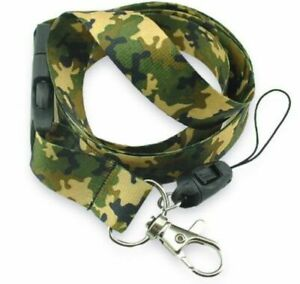 Camo LANYARD Keychain Neck strap ID Holder ARMY Camouflage Detachable clip brown