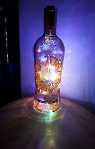 Gin bottle Aber Falls WELSH GIN Orange Marmie + LED Coloured Lights RARE- 70cl