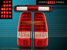99-02 SILVERADO/SIERRA LED TAIL LIGHTS & 3RD BRAKE LIGHT SET NEW 1999 2000 2001