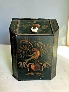 Antique Rare Small Hand Painted Tollware Store Tea Tin Countertop Bin Display