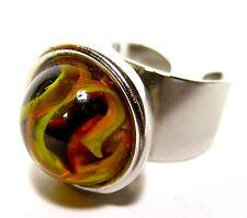 SoHo® Ring Klicker Glas Murmel gelb braun retro ball made in germany SoHo