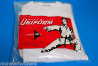 NEW CENTURY MARTIAL ARTS GI KARATE UNIFORM WITH BELT MEDIUM WEIGHT IN WHITE
