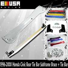 EMUSA 1996-2000 Honda Civic Rear Tie Bar Subframe Brace + Tie Bar SILVER
