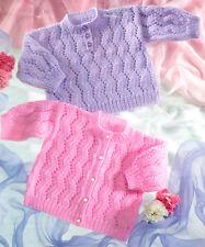 "Zig Zag Eyelet Round Neck Baby Cardigan & Sweater 16"" - 20""  DK Knitting Pattern"