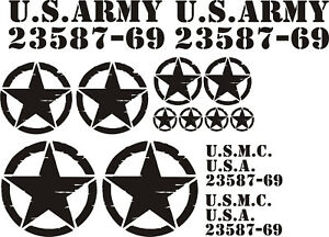 US Army + Sterne Mega-Set Oldschool Auto Fahrzeug Aufkleber schwarz #US0033