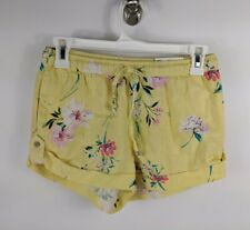SO Authentic Yellow Floral Low Rise Shorts Shortie Junior Womens XS COLORFUL