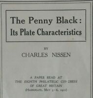 The Pennny Black: its Plate Characteristics by Charles Nissen 12 Page Paper 1921