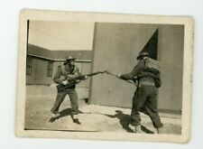 Guys in ,military uniform & gas masks with gun  vintage snapshot found Photo