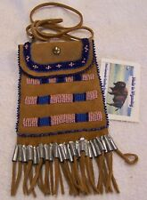 HAND MADE SMALL BEADED NECK POUCH RENDEZVOUS BLACK POWDER MOUNTAIN MAN 35