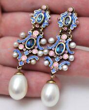 Gilded 925 Sterling Silver Enamel Earrings Pearls London Blue Topaz Earrings
