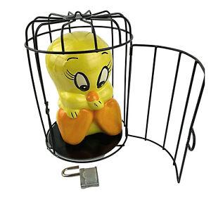 Vintage 1980s Looney Tunes Tweety Bird in Cage Ceramic Coin Piggy Bank Money Box