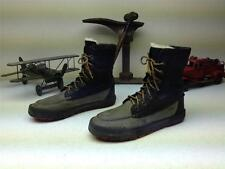 DISTRESSED RALPH LAUREN POLO GRAY LEATHER FLEECE LINED LACE UP BOOTS SIZE 8 D