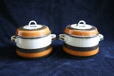 2x vintage oven stew or casserole with cover Rörstrand Annika, Made in Sweden