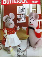 "Vtg 80s stuffed animal MOUSE MICE family Pattern 4"" 2"" & clothes shelf sitter"