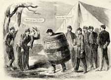 Civil War Military Law Punishment for Drunkenness Soldier Wears Wooden Barrel