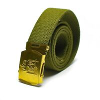Original Norwegian army Olive green belt military canvas w buckle Danish NEW