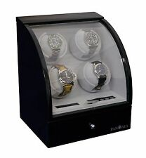 Quad 4 Automatic Watch Winder Wood Box Display Case Piano Black by PANGAEA