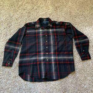 Ralph Lauren Shirt Mens Long Sleeve Plaid 100% Wool Blaire