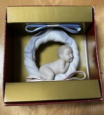 Lladro Baby's First Christmas 2002 With Blue And Pink Ribbon