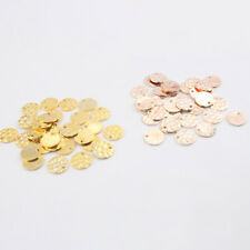 50Pcs Gold/Rose Gold Copper Hammered Round Coin Beads Charms Pendants 10*10mm