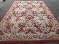 Old Hand Made French Design Wool Pink Red Original Aubusson 366X272cm 12x9