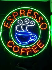 "Espresso Coffee Cafe Open Neon Light Sign 24""x24"" Beer Cave Gift Bar Artwork"