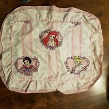 Vintage Disney Princesses Pillowcase Sham Snow White Cinderella Ariel Pink White