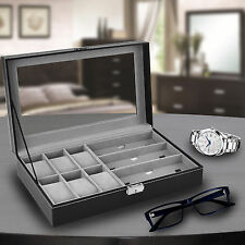 6 Black Leather Watch Box Jewelry Case Valet and 3 Piece Eyeglasses Storage and