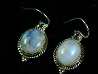 """Blue Flashy Rainbow Moonstone Earrings 1.25"""" Inches 925 Solid Sterling Silver"""