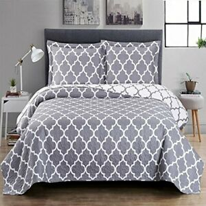Meridian Printed Over-Sized 3PC Quilt Set Cotton Blend Reversible Coverlets