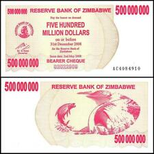 2008 Zimbabwe 500 Million Dollar Bearer Cheque Bank Note-UNC Condition-18-379