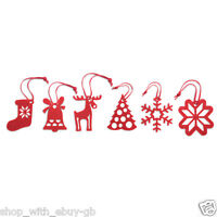 6 Red Felt Christmas Tree Hangers Decorations Reindeer Stocking Filler Snowflake